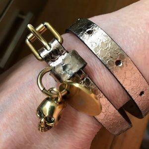 Alexander McQueen Jewelry - Alexander McQueen 💀 Golden Leather Wrap Bracelet